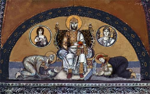Persian and Guang Chinese envoys prostrating before emperor Justinus Lucidianus Caelestinus Augustus.