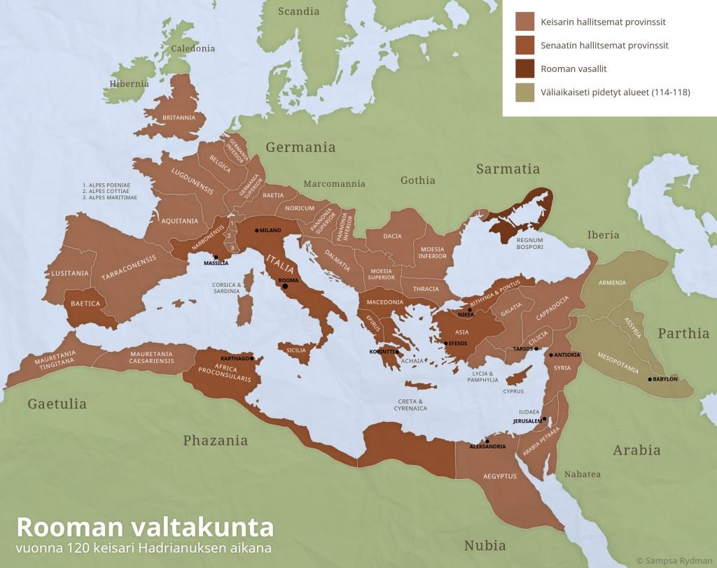 Rooman valtakunta ja sen provinssit vuonna 120 jaa.